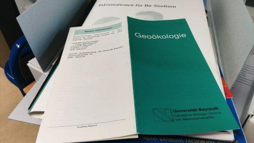 Flyer zum Studiengang Geoökologie, undatiert, Sign. FL 3/3